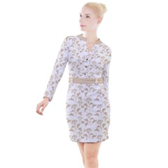 Floral In Almond Buff And White Button Long Sleeve Dress by TimelessFashion