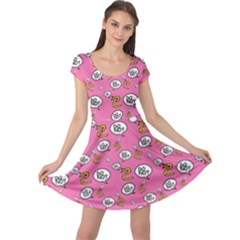 No Step On Snek Do Not  Bubble Speech Pattern Pink Background Gadsden Meme Cap Sleeve Dress by snek