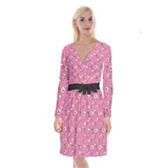 No Step On Snek Do Not  Bubble Speech Pattern Pink Background Gadsden Meme Long Sleeve Velvet Front Wrap Dress by snek