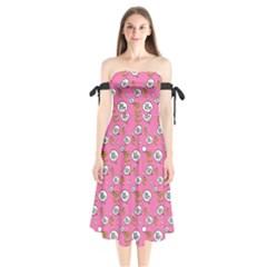 No Step On Snek Do Not  Bubble Speech Pattern Pink Background Gadsden Meme Shoulder Tie Bardot Midi Dress by snek