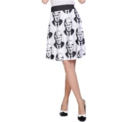 Trump Retro Face Pattern Maga Black And White Us Patriot A Line Skirt by snek