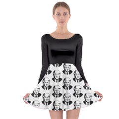 Trump Retro Face Pattern Maga Black And White Us Patriot Long Sleeve Skater Dress by snek