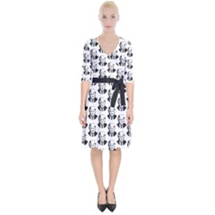 Trump Retro Face Pattern Maga Black And White Us Patriot Wrap Up Cocktail Dress by snek