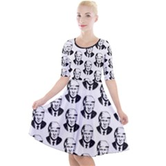 Trump Retro Face Pattern Maga Black And White Us Patriot Quarter Sleeve A Line Dress by snek