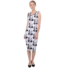 Trump Retro Face Pattern Maga Black And White Us Patriot Sleeveless Pencil Dress by snek