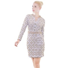 Floral Dot Series   Almond Buff And White Button Long Sleeve Dress by TimelessFashion
