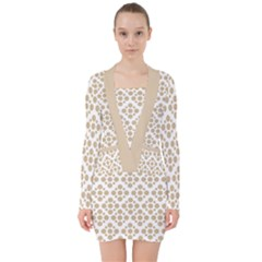 Floral Dot Series   Almond Buff And White V Neck Bodycon Long Sleeve Dress by TimelessFashion