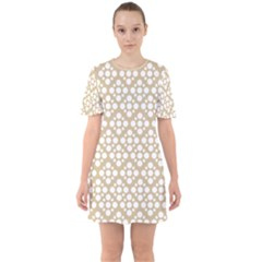 Floral Dot Series   White And Almond Buff Sixties Short Sleeve Mini Dress by TimelessFashion