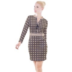 Grid Of Elegance  Button Long Sleeve Dress by TimelessFashion