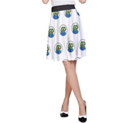 Apu Apustaja With Banana Phone Wall Eyed Pepe The Frog Pattern Kekistan A Line Skirt by snek