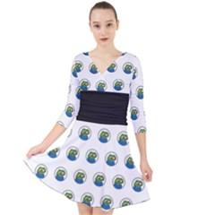 Apu Apustaja With Banana Phone Wall Eyed Pepe The Frog Pattern Kekistan Quarter Sleeve Front Wrap Dress by snek