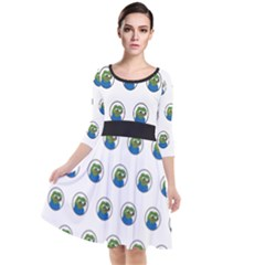 Apu Apustaja With Banana Phone Wall Eyed Pepe The Frog Pattern Kekistan Quarter Sleeve Waist Band Dress by snek