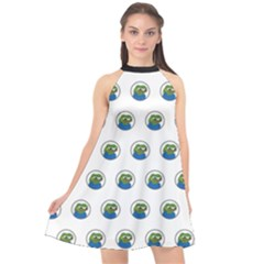 Apu Apustaja With Banana Phone Wall Eyed Pepe The Frog Pattern Kekistan Halter Neckline Chiffon Dress