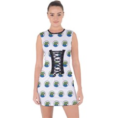 Apu Apustaja With Banana Phone Wall Eyed Pepe The Frog Pattern Kekistan Lace Up Front Bodycon Dress by snek