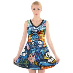 Graffiti Urban Colorful Graffiti Cartoon Fish V Neck Sleeveless Dress by snek