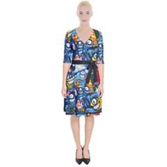 Graffiti Urban Colorful Graffiti Cartoon Fish Wrap Up Cocktail Dress by snek