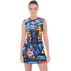 Graffiti Urban Colorful Graffiti Cartoon Fish Lace Up Front Bodycon Dress by snek