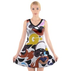 Graffiti Urban Colorful Graffiti City Wall Hip Hop Music Singers V Neck Sleeveless Dress by snek