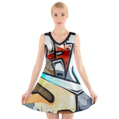 Blue Face King Graffiti Street Art Urban Blue And Orange Face Abstract Hiphop V Neck Sleeveless Dress by snek