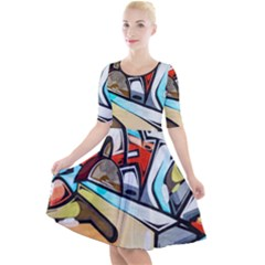 Blue Face King Graffiti Street Art Urban Blue And Orange Face Abstract Hiphop Quarter Sleeve A Line Dress by snek