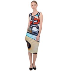 Blue Face King Graffiti Street Art Urban Blue And Orange Face Abstract Hiphop Sleeveless Pencil Dress by snek