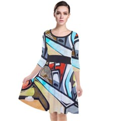 Blue Face King Graffiti Street Art Urban Blue And Orange Face Abstract Hiphop Quarter Sleeve Waist Band Dress by snek