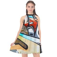 Blue Face King Graffiti Street Art Urban Blue And Orange Face Abstract Hiphop Halter Neckline Chiffon Dress