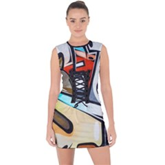 Blue Face King Graffiti Street Art Urban Blue And Orange Face Abstract Hiphop Lace Up Front Bodycon Dress by snek