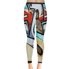 Blue Face King Graffiti Street Art Urban Blue And Orange Face Abstract Hiphop Inside Out Leggings by snek