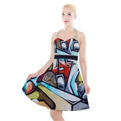 Blue Face King Graffiti Street Art Urban Blue And Orange Face Abstract Hiphop Halter Party Swing Dress  by snek