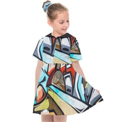 Blue Face King Graffiti Street Art Urban Blue And Orange Face Abstract Hiphop Kids  Sailor Dress by snek
