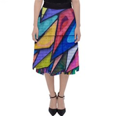 Urban Colorful Graffiti Brick Wall Industrial Scale Abstract Pattern Classic Midi Skirt by snek