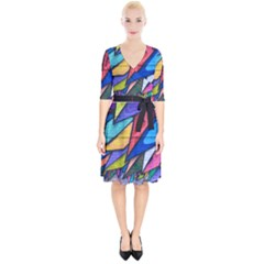 Urban Colorful Graffiti Brick Wall Industrial Scale Abstract Pattern Wrap Up Cocktail Dress by snek