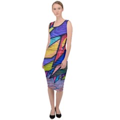 Urban Colorful Graffiti Brick Wall Industrial Scale Abstract Pattern Sleeveless Pencil Dress by snek