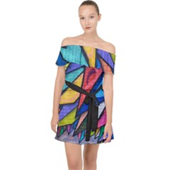 Urban Colorful Graffiti Brick Wall Industrial Scale Abstract Pattern Off Shoulder Chiffon Dress by snek