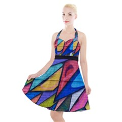 Urban Colorful Graffiti Brick Wall Industrial Scale Abstract Pattern Halter Party Swing Dress  by snek