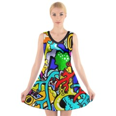 Graffiti Abstract With Colorful Tubes And Biology Artery Theme V Neck Sleeveless Dress by snek
