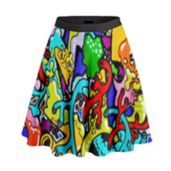 Graffiti Abstract With Colorful Tubes And Biology Artery Theme High Waist Skirt by snek