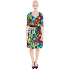 Graffiti Abstract With Colorful Tubes And Biology Artery Theme Wrap Up Cocktail Dress by snek