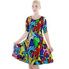 Graffiti Abstract With Colorful Tubes And Biology Artery Theme Quarter Sleeve A Line Dress by snek