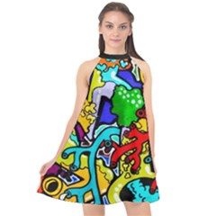 Graffiti Abstract With Colorful Tubes And Biology Artery Theme Halter Neckline Chiffon Dress