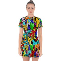 Graffiti Abstract With Colorful Tubes And Biology Artery Theme Drop Hem Mini Chiffon Dress by genx