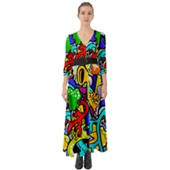 Graffiti Abstract With Colorful Tubes And Biology Artery Theme Button Up Boho Maxi Dress
