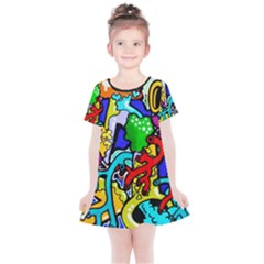 Graffiti Abstract With Colorful Tubes And Biology Artery Theme Kids  Simple Cotton Dress by snek