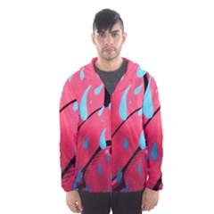 Graffiti Watermelon Pink With Light Blue Drops Retro Hooded Windbreaker (men) by genx