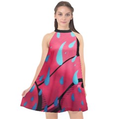 Graffiti Watermelon Pink With Light Blue Drops Retro Halter Neckline Chiffon Dress