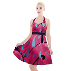 Graffiti Watermelon Pink With Light Blue Drops Retro Halter Party Swing Dress  by snek