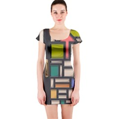 Door Stained Glass Stained Glass Short Sleeve Bodycon Dress by Pakrebo