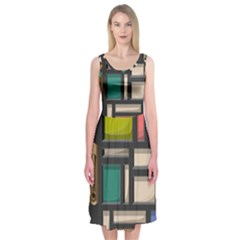 Door Stained Glass Stained Glass Midi Sleeveless Dress