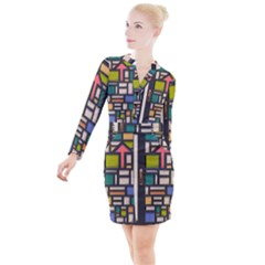 Door Stained Glass Stained Glass Button Long Sleeve Dress